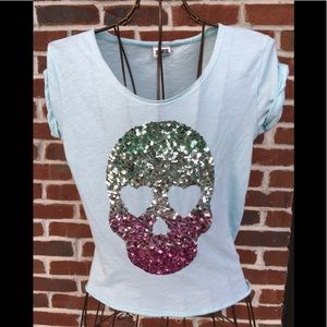 EUC PINK  MINT-GREEN SEQUIN SILVER/PINK SKULL
